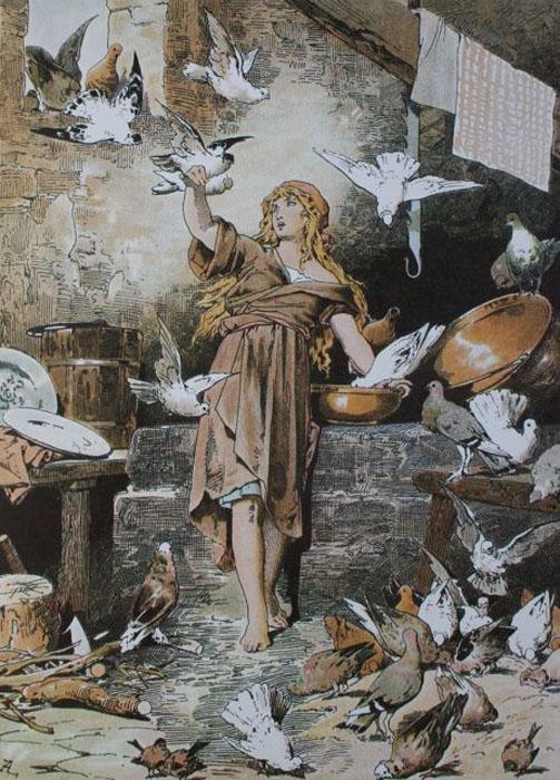 Иллюстратор Александр Зик изобразил Золушку с голубями, опираясь на историю, рассказанную братьями Гримм.