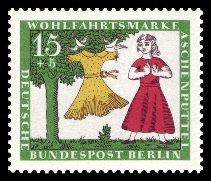 Немецкая марка - Золушка получает бальное платье от дерева.