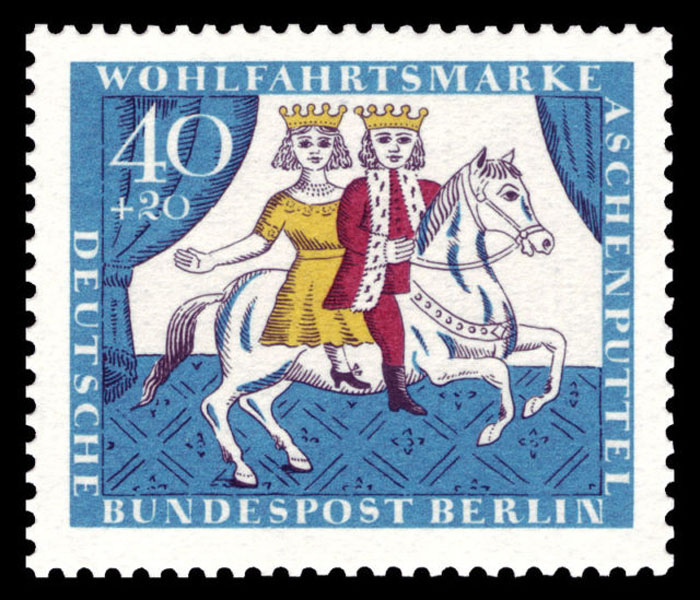 Принц везет Золушку на коне.