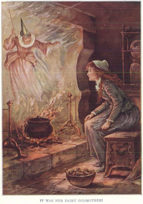 Оливер Херфорд изобразил Золушку вместе с феей-крестной по мотивам версии сказки Шарля Перро.