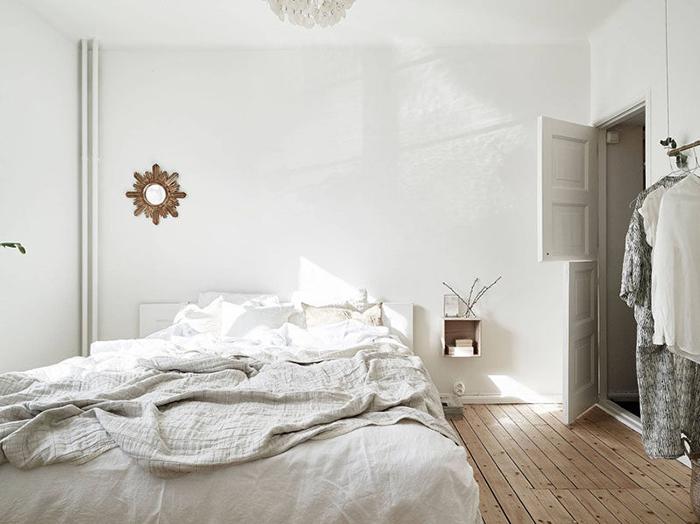 Белая спальня в скандинавском стиле.