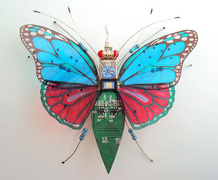 Сине-красная бабочка.  Автор: Julie Alice Chappell.