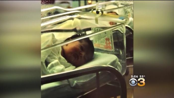 Фотография новорожденной Джессики в больнице.