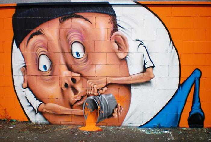 Интерактивные граффити от итальянского художника.