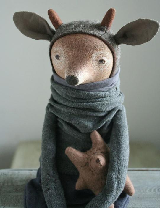 Олененок Ноэль. Авторские куклы Марины Глебовой.