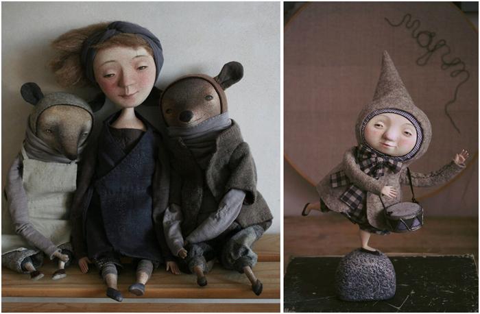 Коати Улрике, девочка Пиа и неизвестный зверь по имени Тью. Куклы Марины Глебовой.