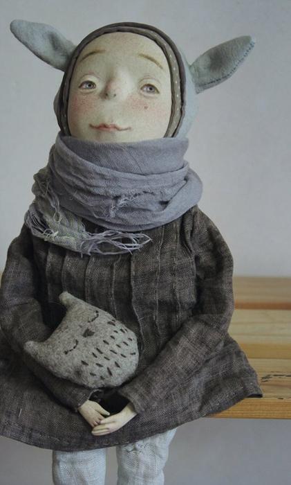 Лесной человечек Сольвейг с другом Совой. Авторские куклы Марины Глебовой.