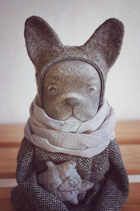 Бульдожка Френки. Авторские куклы Марины Глебовой.