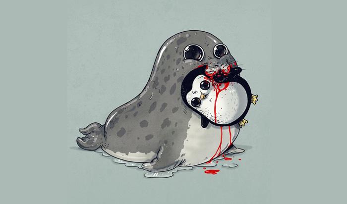 Милый тюлень и его обед.