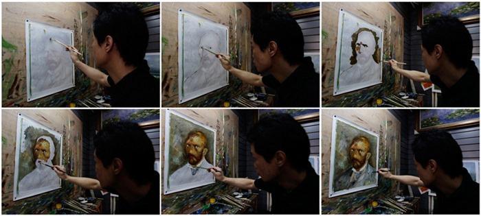 Чжао Ксяойонг рисует автопортрет Ван Гога за 30 минут.