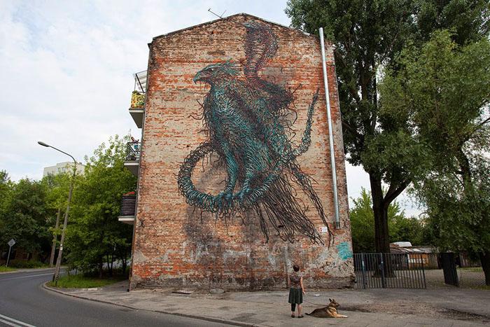 Птицы Южной Африки - один из мотивов граффити DALeast.