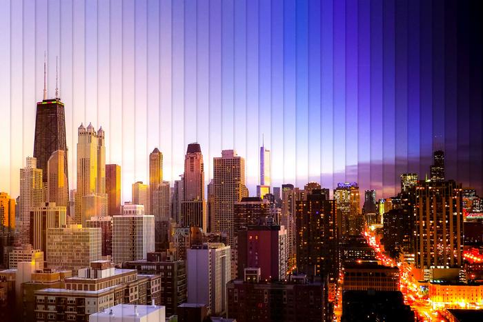 Чикаго: коллаж из 39 фотографий, снятых каждые 1 час 18 минут.