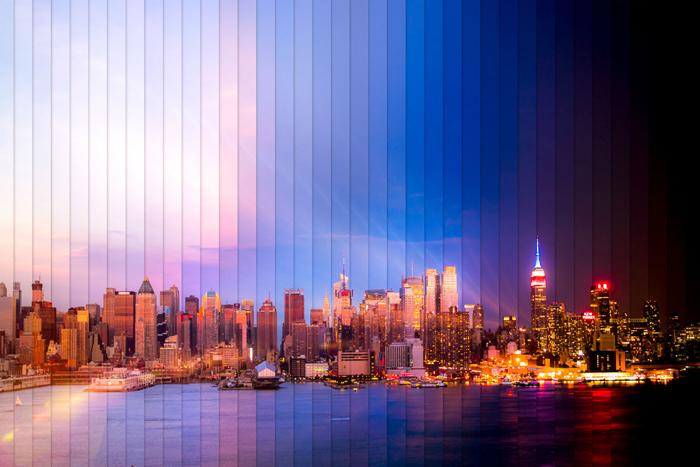Нью-Йорк: коллаж из 38 фотографий, снятых с разницей в 2 часа 3 минуты.