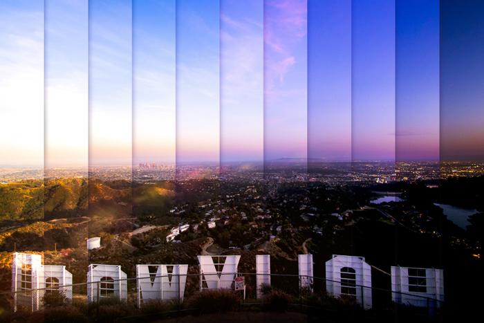 Голливуд: коллаж из 11 фотографий, снятых с разницей в 1 час 15 минут.