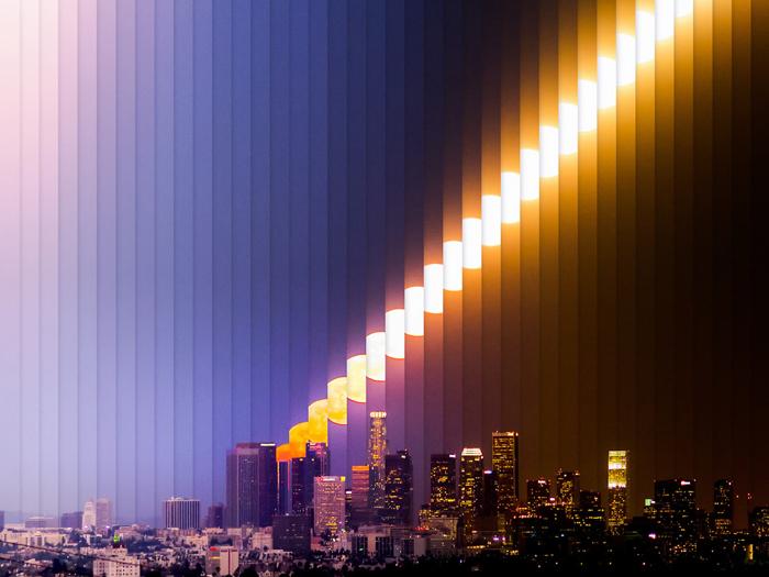Восход Луны в Лос-Анжелесе - time slice фотография Дэна Маркер-Мура.