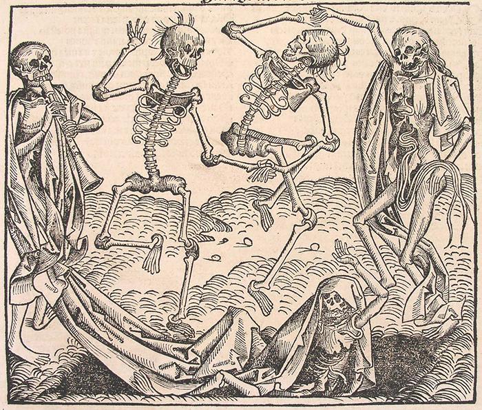 Гравюра изображает потенциальную угрозу смерти хореомании.