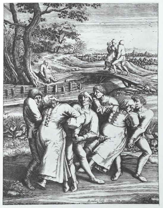 Hendrik Hondius: женщины, пораженные танцевальной лихорадкой.