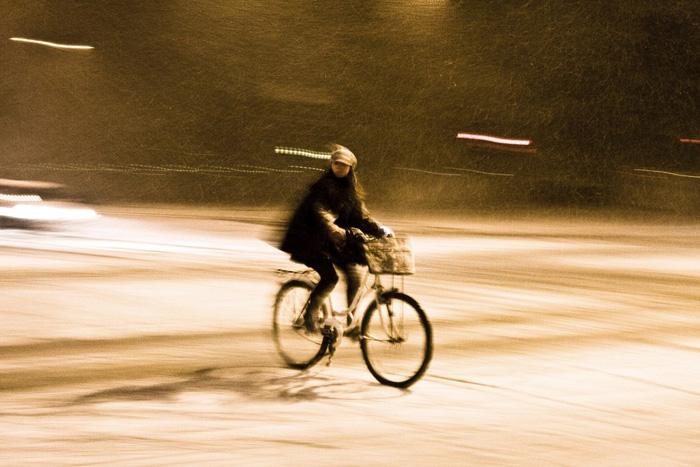 Велосипедист в Копенгагене.