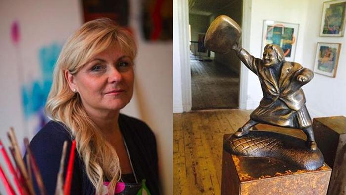 Скульптор Сюзанна Арвин и статуя Дануты.