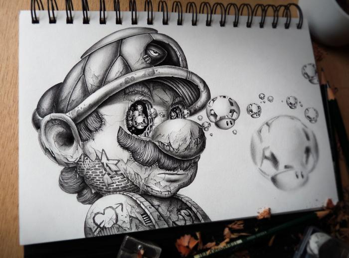 Марио, покрытый татуировками.