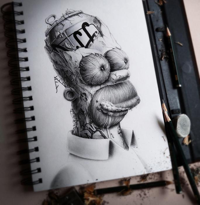 Гомер Симпсон в исполнении иллюстратора Pez.
