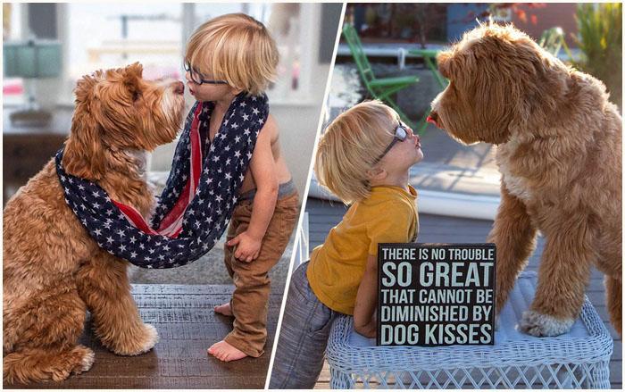 Трогательная дружба мальчика и собаки. Instagram reagandoodle.