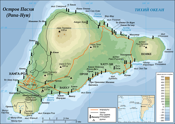 Расположние Моаи на острове.
