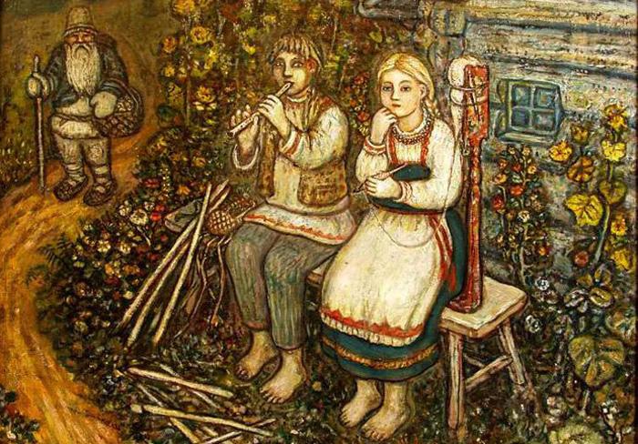 Крестьянские дети. Автор: Ефим Честняков.