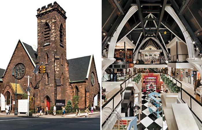 Торговый зал в церкви.