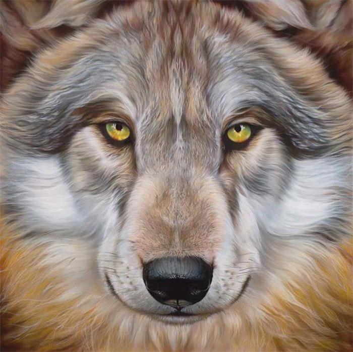 Canis Lupus - серый волк на картине Эйана Джонезиса.