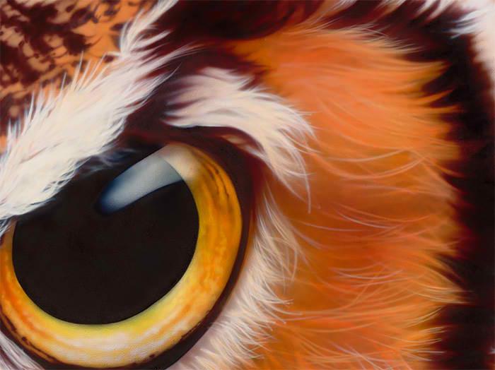 Great Horned Owl - виргинский филин смотрит на зрителей с картины Эйана Джонезиса.