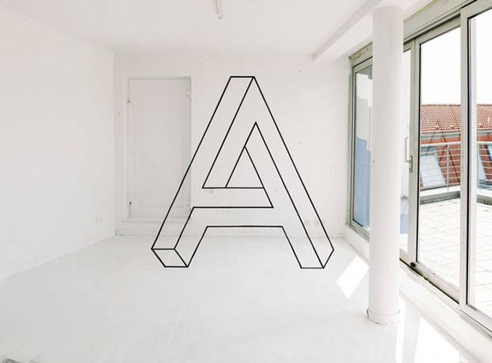 Невозможная фигура в форме буквы А, созданная Фанет-Джи.