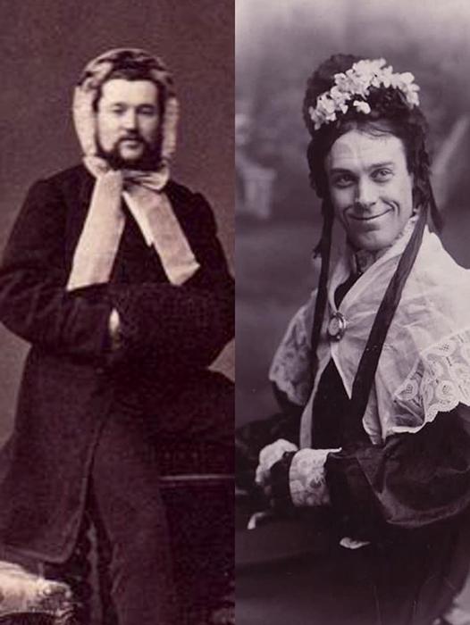 Актер В.С. Пенсли (справа) часто играл женщин на сцене.