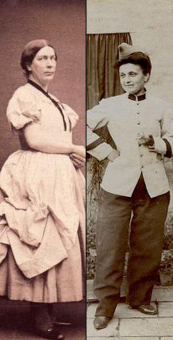 Мужчина и женщина в XIX веке в одежде противоположного гендера.