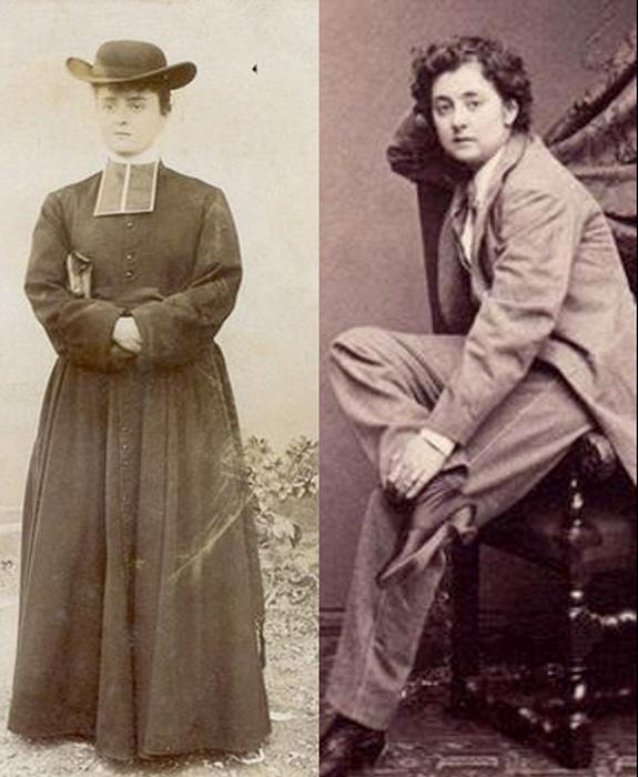 Женщины, переодетые в мужскую одежду, в том числе в одежду священника.