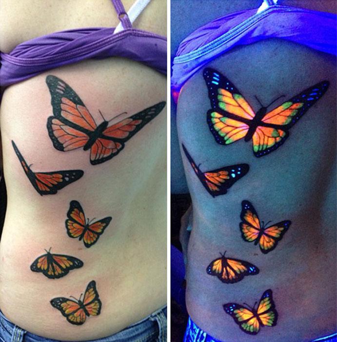 Бабочки. УФ-татуировка.