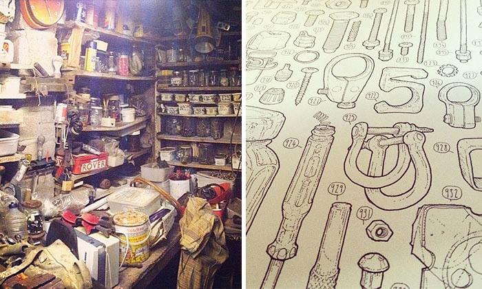 Внук-художник решил зарисовать каждую деталь в захламленном сарае дедушки.