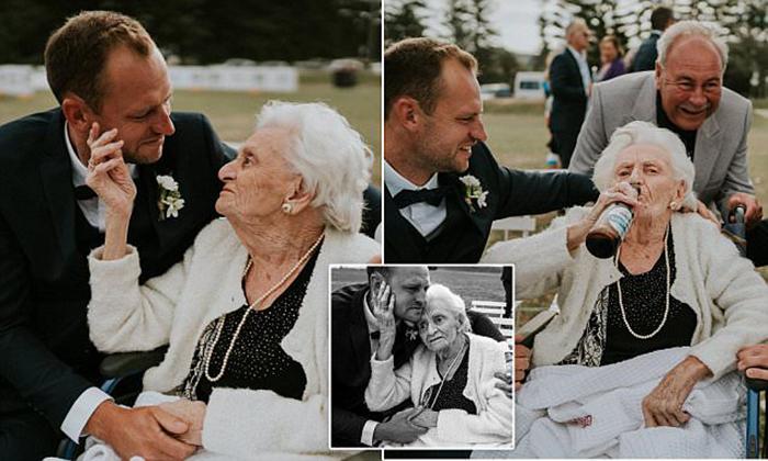 Австралиец привел на свою свадьбу 92-летнюю бабушку.