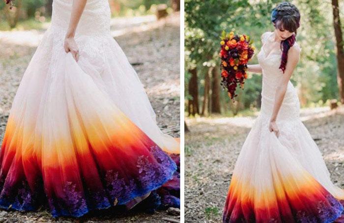 Платье, разукрашенное самой невестой.