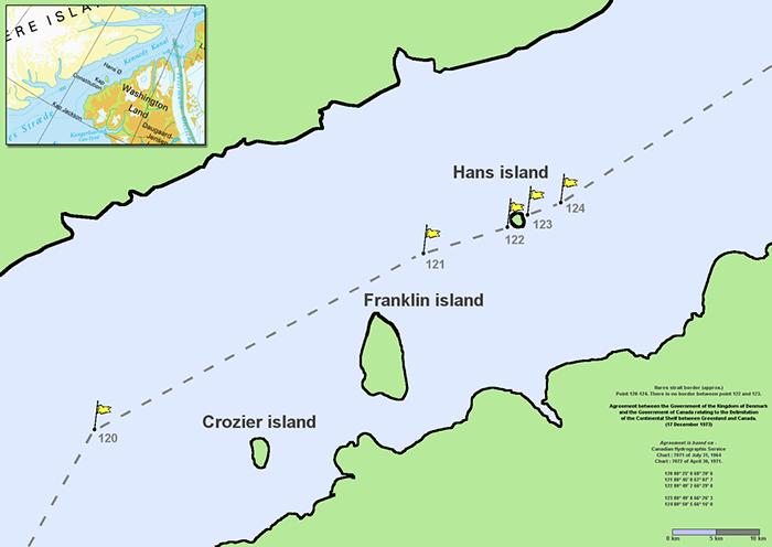 Компьютерная граница между территориями пролегла ровно через остров Ганса.