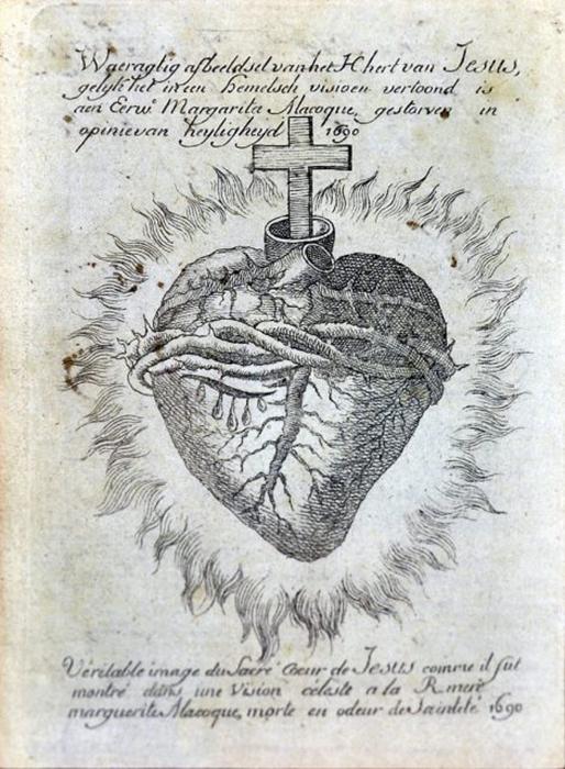 Изображение сердца в XVIII веке.