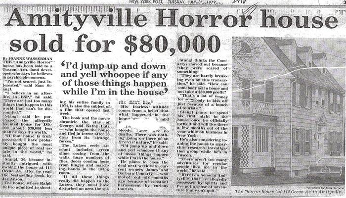 Вырезка из газеты - статья о доме в Амитивилле.