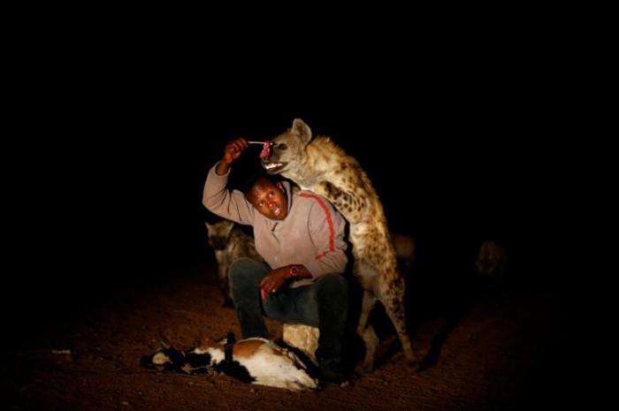 23-летний Аббас Йусуф кормит гиен.
