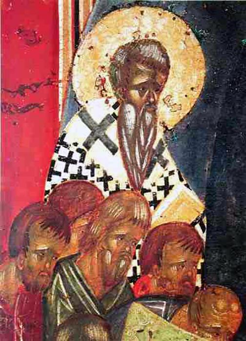 Фрагмент иконы *Успение Богородицы*.Вверху - Иаков, брат Господень, епископ Иерусалимский.