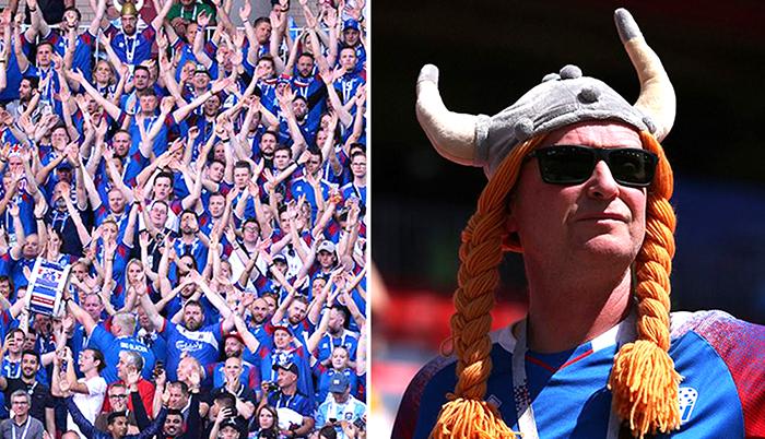 Поддержка Исландией своей сборной по футболу.