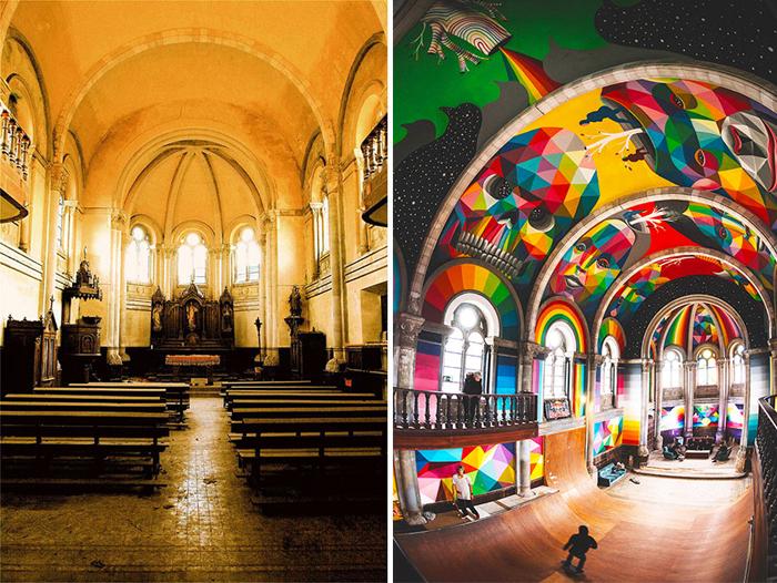 Старая испанская церковь теперь называется Храмом Хаоса и является скейт-площадкой.