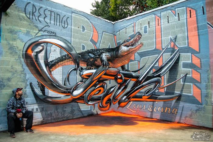 Odeith и его объемные граффити на плоских стенах.