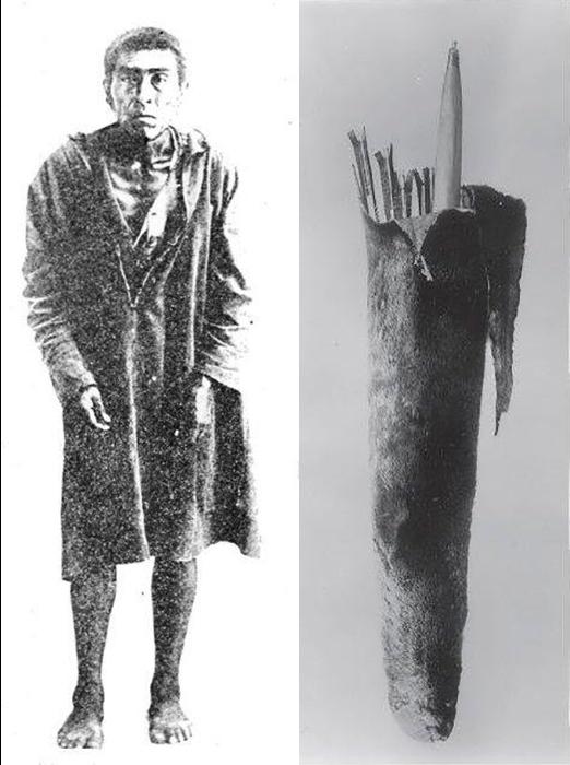 Фотография Иши вскоре после его встречи с антропологами и колчан со стрелами, принадлежащий Иши.