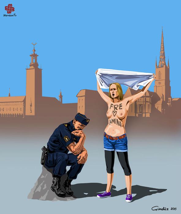 Толерантность шведской полиции при протесте FEMEN.