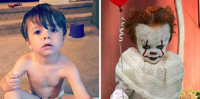 Трудно угадать в жутком клоуне этого милого малыша. Instagram eag2n.
